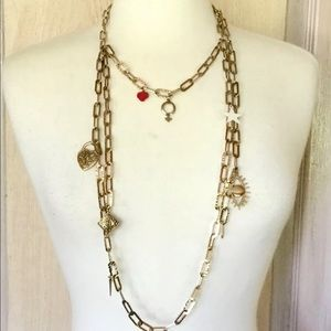 Free People Charm Necklace Gold Tone Layer Chain